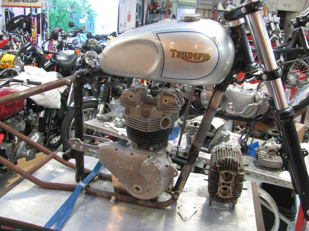 The right side of the special Pré-Unit Triumph on a lowbrow frame.
